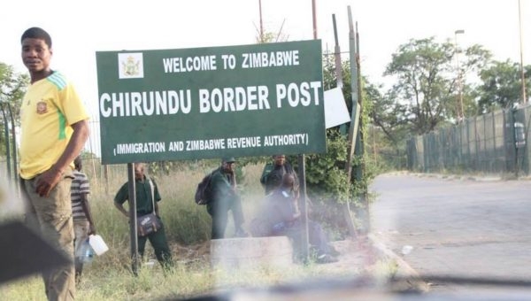 "Entering the ""one-stop"" Chirundu border between Zimbabwe and Zambia."