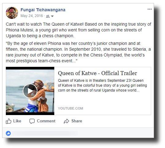 Fungai - Queen of Katwe FB post