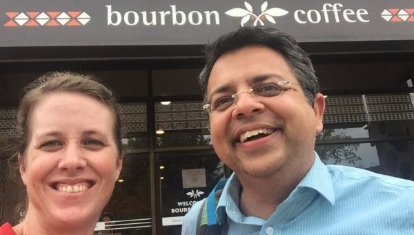 Verity and Gopal outside Bourbon Coffee