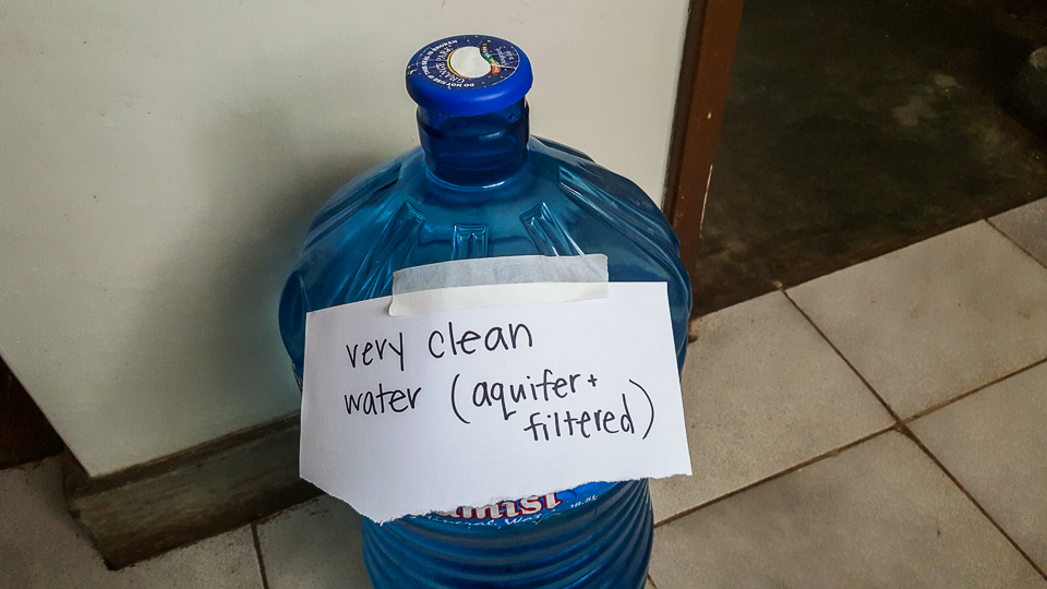 A label at a home in Nairobi showing that this water is safe for drinking. Less than 40% of households that are connected to the city's water supply have continuous running water.