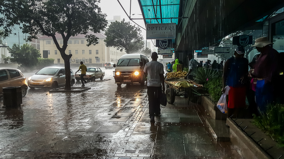 A rain storm in the Harare CBD. Frequent droughts, growing populations and insufficient infrastructure are making it hard for many African cities to supply adequate water to their residents.
